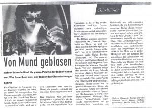 Zeitungsbericht Glasblasen Rainer Schrade